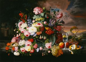 Still Life of Flowers and Fruit with a River Landscape in the Distance (1867) by Severin Roesen
